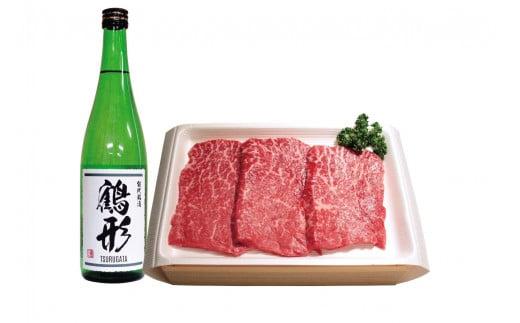 秋田県能代産 鶴形牛モモステーキ(150g×3枚)・大吟醸「鶴形」(720mL)セット