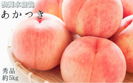 [№5915-0758]浅間水蜜桃 みつおかのもも あかつき 秀品 約5kg