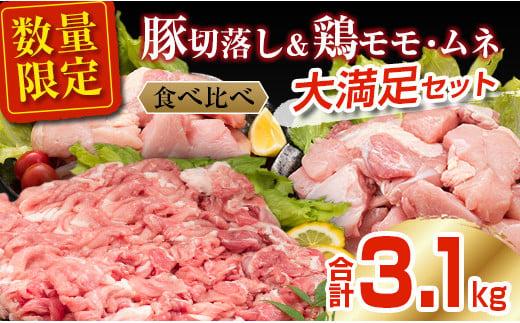 B154-21 肉≪小分けで便利≫豚&鶏(モモ・ムネ)大満足セット(合計3.1kg)