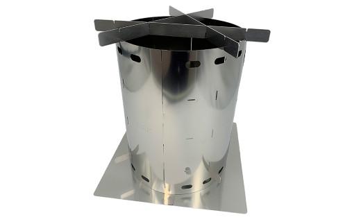 CGK 巻き薪ストーブL クアトロ ネイチャーストーブ ステンレス コンパクト 23cm×30cm キャンプ アウトドア
