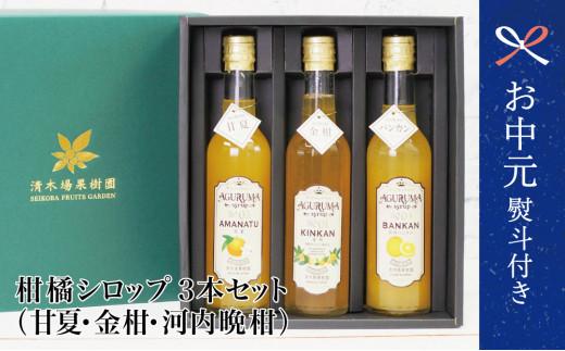 【お中元ギフト】柑橘シロップ3本セット(甘夏・金柑・河内晩柑)