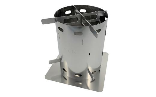 CGK 巻き薪ストーブ コンパクト ソロ用 ステンレス ネイチャーストーブ 15cm×20cm キャンプ アウトドア