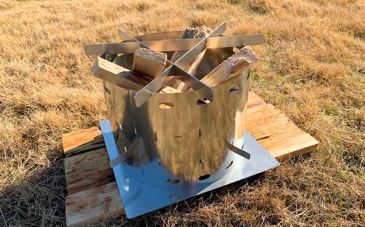 CGK 巻き薪ストーブL トリプル ネイチャーストーブ ステンレス コンパクト 26cm×20cm キャンプ アウトドア