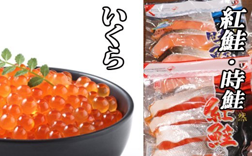 E-36002 甘塩紅鮭5切×10P、甘塩時鮭5切×10P、いくら醤油漬け100g×5Pセット