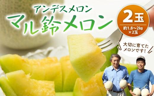 マル鈴 メロン 2玉 化粧箱入り 1.8~2kg アールスメロン【60pt】