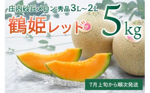 A21-001 鶴姫レッドメロン(赤肉)秀品3L~2L 約5kg(4玉~5玉)