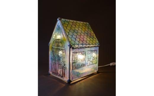 かわいい家型ステンドグラス・ランプ「猫のパン屋」【1206850】