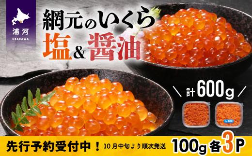 【10月中旬頃より発送】網元のいくら(塩・醤油)お試しセット各100g×3P[01-990]