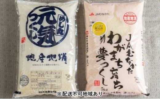 [№5656-1745]【福岡の米】夢つくし 5kg&元気つくし 5kg【配送不可:離島】