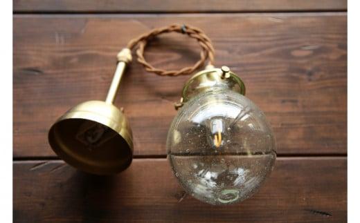 【琉球ガラス工房 硝子家すずめ】吊り下げランプ(泡クリア)