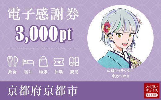 京都市電子感謝券 3,000pt(1pt=1円)