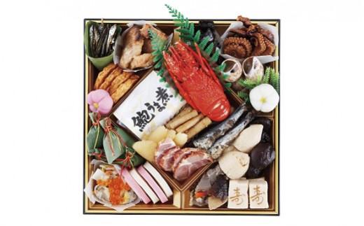 【1段目】ロブスター、あわび煮貝スライス、味付数の子、、田作り、いくら醤油漬など