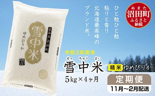 〔定期便〕雪中米ゆめぴりか5kg(11月~4ヶ月配送)令和3年産【3040-01】