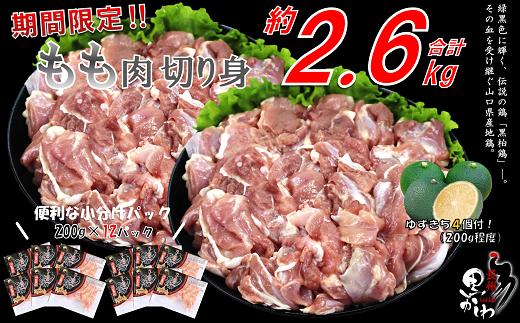 (1251)【流通割合1%未満!希少地鶏】合計約2.6kg 黒かしわ 鶏肉 もも肉 精肉 200g×12パック(長門ゆずきち付)
