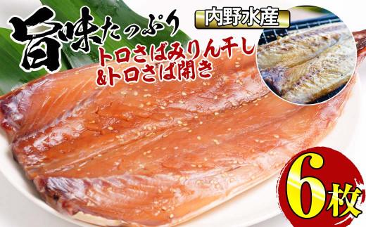 KU221 串間の朝市で大人気!内野水産の干物(6枚)濃い旨味!トロサバ開きとサバみりん! 海の幸【スーパーほりぐち】