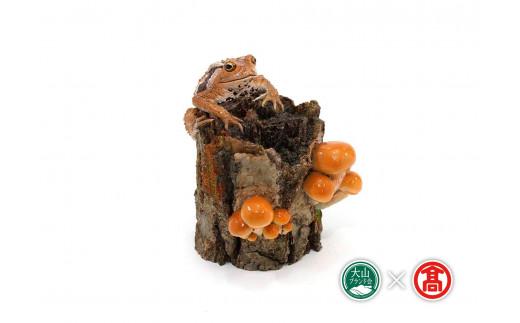 【75-v2】カエルフィギュア「ナメコとヒキガエルの樹」