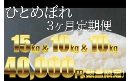 【チャレンジ応援品】3ヶ月定期 大槌産米ひとめぼれ初回15kg(5kg×3袋) 残り2ヶ月は10㎏ずつ発送