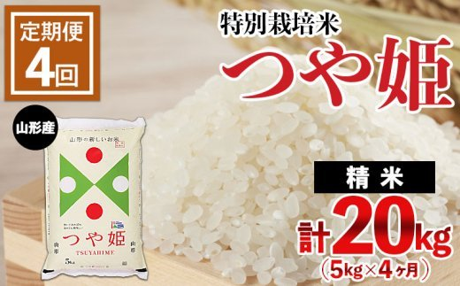 FY21-334 【定期便4回】山形産 特別栽培米 つや姫 5kg×4ヶ月(計20kg)
