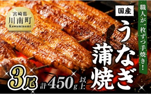 ひむか山道うなぎ蒲焼 3尾分(450g以上)