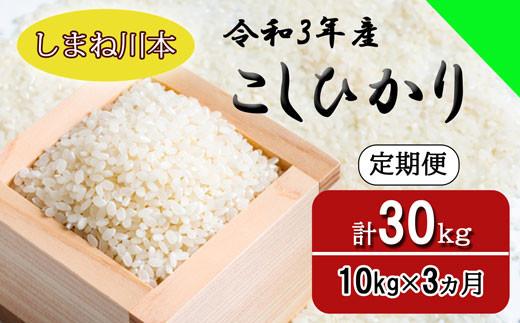 150264【令和3年産/お米定期便/3ヵ月】しまね川本 コシヒカリ 10kg (計30kg)