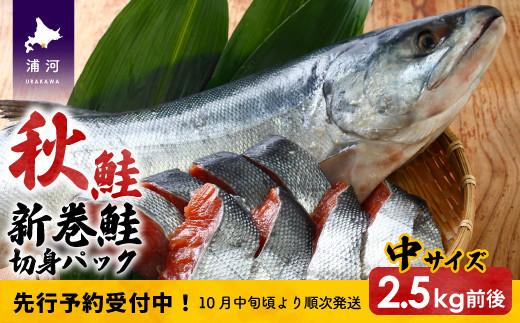 北海道浦河前浜産 特選 新巻鮭(中サイズ) 丸ごと切身2.5kg前後 [02-056]