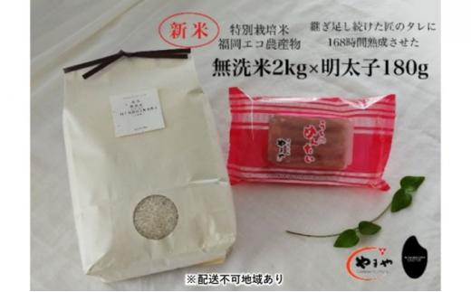 [№5656-1925]福岡のごはんセット『特別栽培米』農家直送 新米 ヒノヒカリ 無洗米 2kg×やまや『うちのめんたい』180g【配送不可:離島】