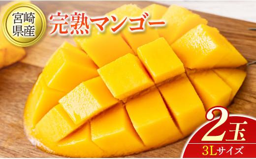 果汁たっぷりジューシー!宮崎県産 完熟マンゴー 3L 2玉【C335】