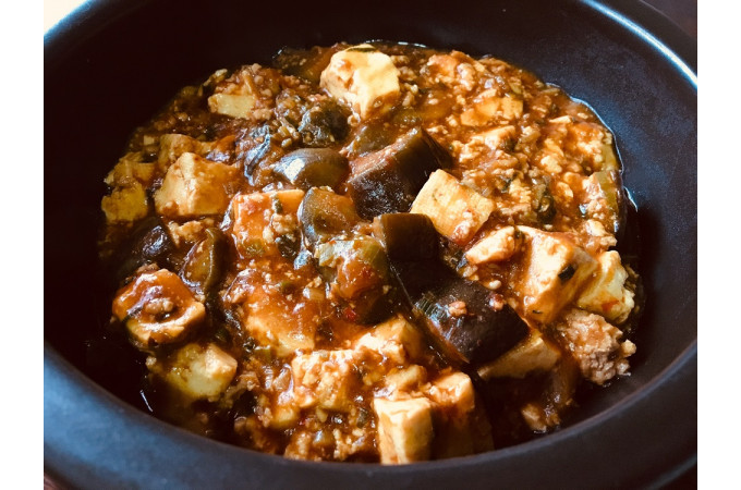 定番の麻婆豆腐。水なすを入れたら麻婆豆腐ナス?