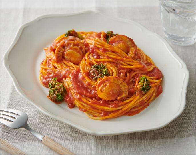 ホタテとブロッコリーのトマトパスタの画像
