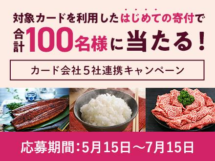 【カード会社5社連携キャンペーン】対象カードを利用したはじめての寄付でうなぎ・牛肉・お米が100名様に当たる!