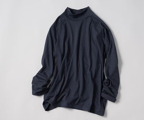 【久米繊維工業】ハイネック長袖Tシャツ(藍鉄)藤巻百貨店別注モデル