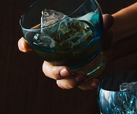 藤巻百貨店オリジナル「深川硝子工芸」国産最高級クリスタルグラス「GOKAN」Fujimaki Blue OWAN WAVE