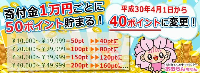 寄付金1万円ごとに50ポイント貯まる!!!!