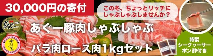 【N-31】あぐー豚肉しゃぶしゃぶバラ肉ロース肉1kgセット!  特製シークヮーサーポン酢付き