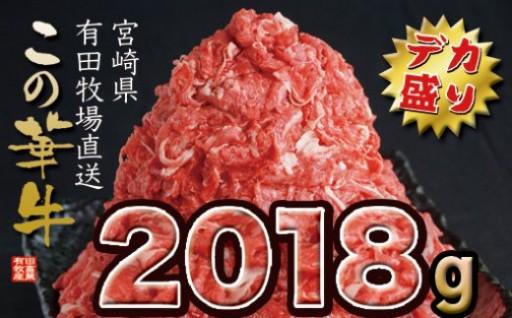 【デカ盛り!】宮崎県有田牧場直送この華牛2018g!