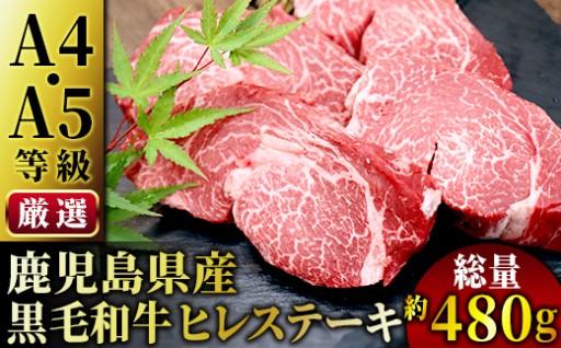 【A4・A5等級 鹿児島県産】黒毛和牛ヒレステーキ約480g