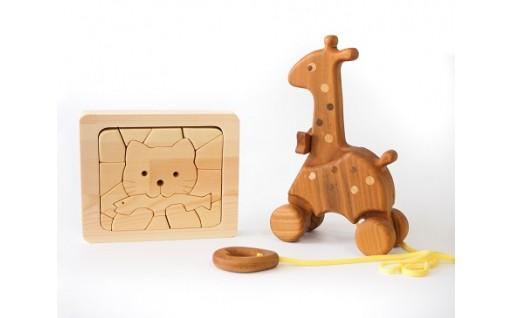 【安全・安心】木のおもちゃ(キリンブーブ・木のパズル)