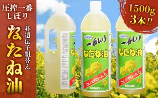 地元産の食用油「一番搾りなたね油」