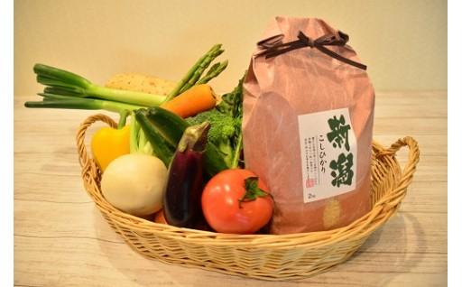 【数量限定】聖籠産有機米と旬の野菜セット