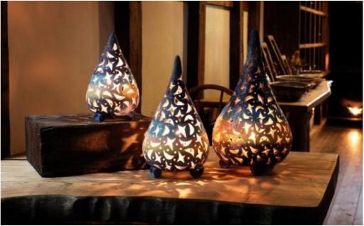 ★陶器ランプ(小)「彩色」(しずく型)
