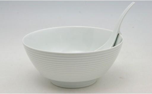 ロングセラーの究極ラーメン鉢🍜まるぶん 白磁千段 レンゲ付