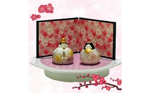 🌸ひなまつり特集🎎有田焼 二色吹さくら雛人形 台皿