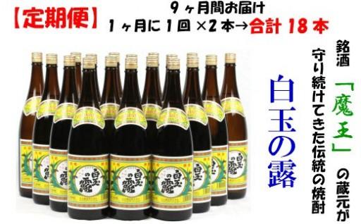 【定期便:魔王の姉妹焼酎】<白玉の露>1升瓶×2本 9ヶ月