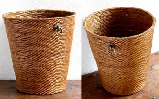 バリ島発アタ製品 真鍮シンプル取っ手ごみ箱