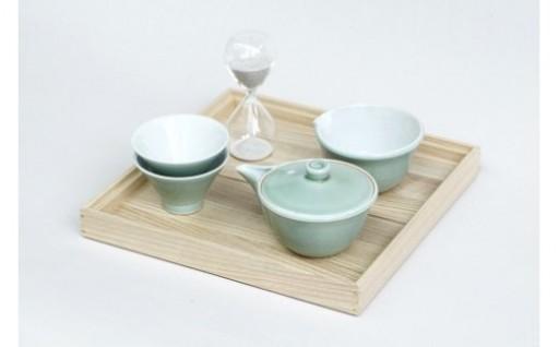 朝日焼窯元 茶盆セット(河濱清器・茶盆・砂時計)