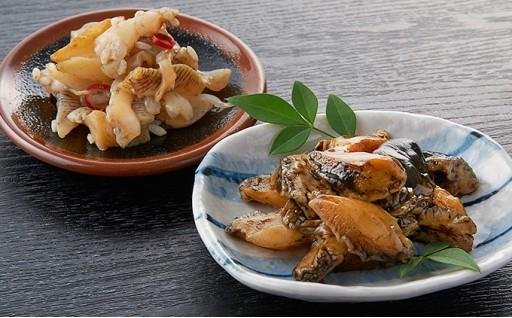 あわびとつぶ貝の北海道磯の塩辛セットが逸品でオススメです!