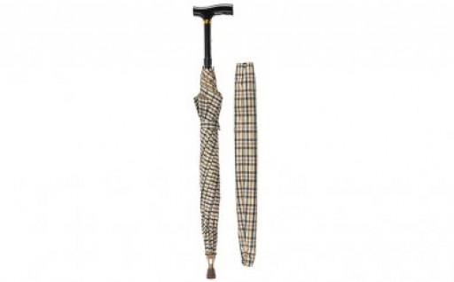 雨の日対策も万全!傘の中に杖が収納 杖ブレラー