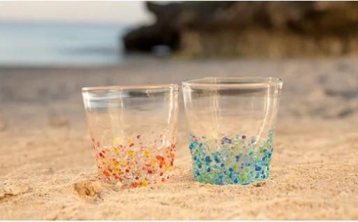 <琉球ガラス>つぶつぶロックグラスセット(青、オレンジ)