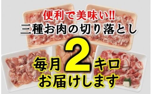 毎月2kgお届け!三種お肉の便利な切落し半年間定期便