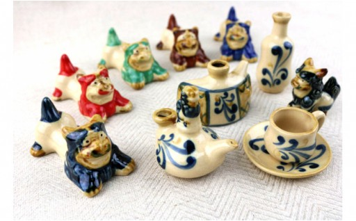 中城窯 朝日陶器 ミニチュア5点&獅子箸置き5点セット